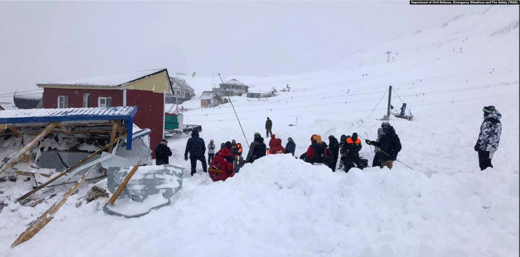 A North Caucasus avalanche struck a skiing area in the  region of Karachai-Cherkessia